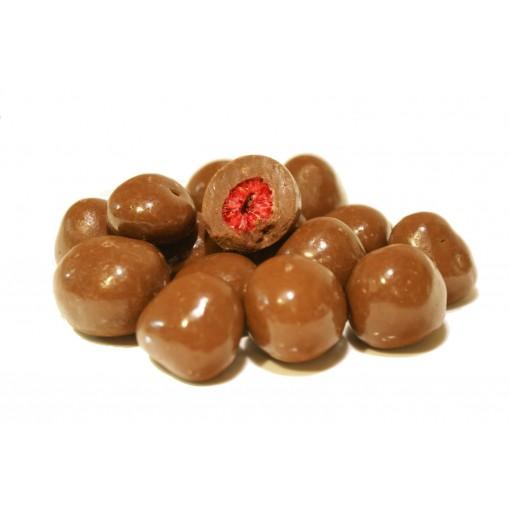 Himbeeren gefriergetrocknet in zarter Vollmilchschokolade